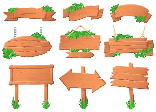Houten bord met bladeren. tropische bladeren op houten bord, groen label teken en jungle bos aanwijzer boards vector set. verzameling van wegwijzers, wegwijzers en hangende spandoeken begroeid met planten.