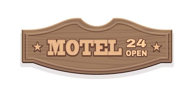 Houten bord voor motel 24 open met het opschrift. vintage uithangbord in wilde westenstijl. geïsoleerd op wit