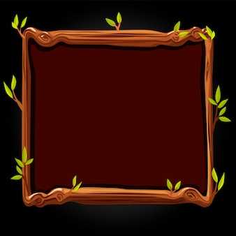 Houten bruin bord met bladeren voor de spelillustratie