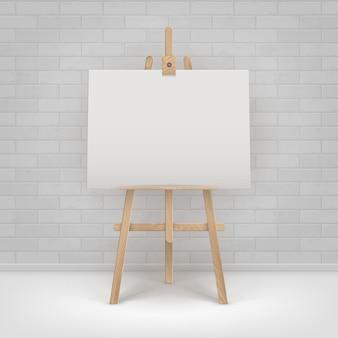 Houten bruine ezel met leeg horizontaal canvas