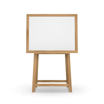 Houten bruine sienna art board-ezel met leeg leeg horizontaal canvas Premium Vector