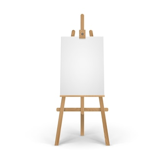 Houten bruine sienna-ezel met leeg leeg verticaal canvas