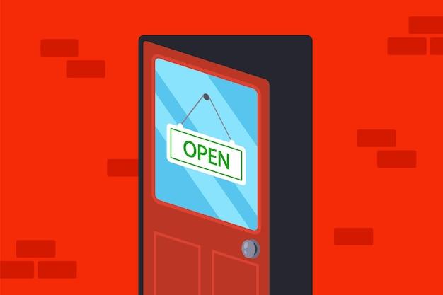 Houten deur met een open bord. illustratie.