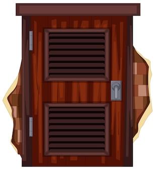 Houten deur op de bakstenen muur