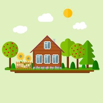 Houten eco-huis en landschap.