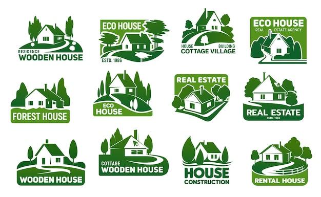 Houten eco huizen, onroerend goed gebouwen pictogrammen.
