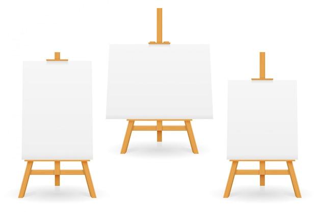 Houten ezel voor schilderen en tekenen met een blanco vel papier