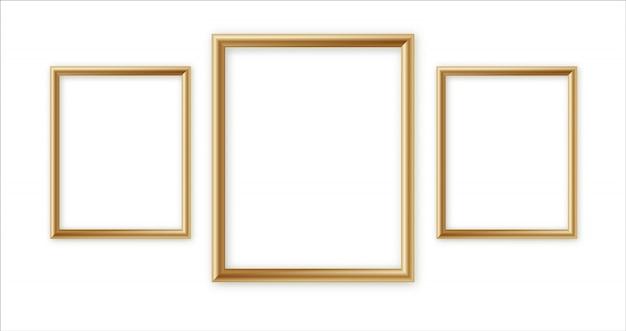 Houten fotolijst collectie. 3d-fotolijst ontwerp voor afbeelding of tekst