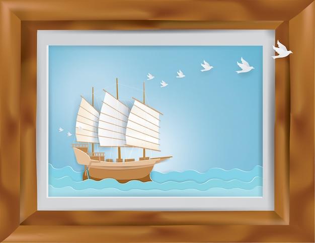 Houten frame met barque op het blauwe overzees in zomer