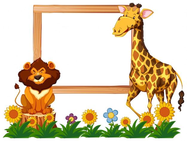 Houten frame met giraf en leeuw
