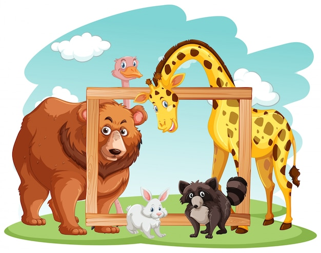 Houten frame met veel dieren