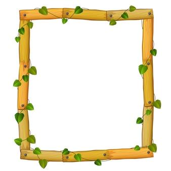 Houten frame met wortels en blad Premium Vector