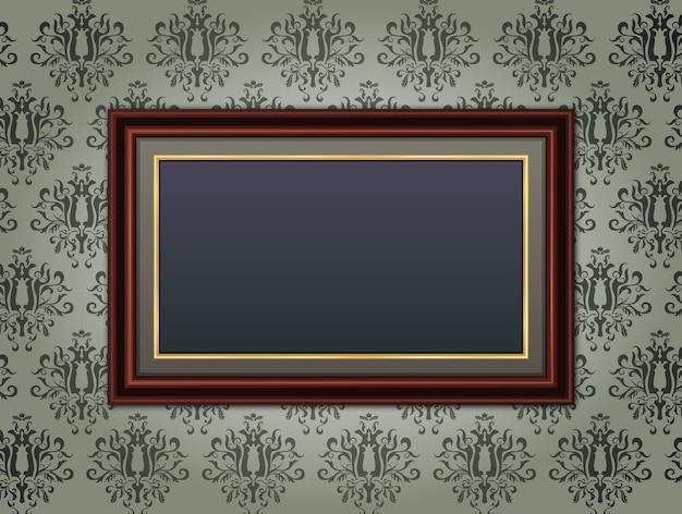 Houten frame op bloemen vintage achtergrond