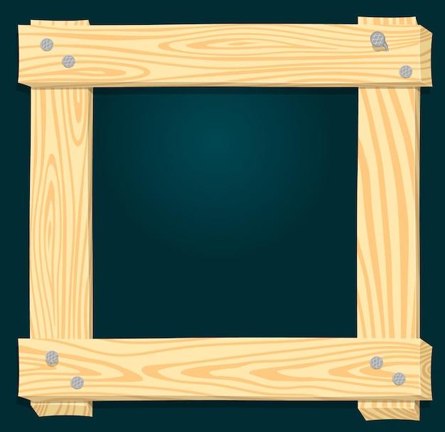 Houten frame op een groene achtergrond ruw uit planken geslagen met spijkers