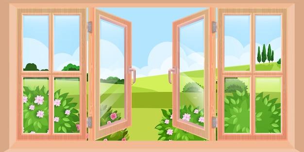 Houten geopende lente venster landschapsmening vanuit huis, vlakke natuur illustratie, struiken, groene heuvels. schoon glas, blauwe lucht, verre bomen buitenscène. grote geopende raam buiten illustratie