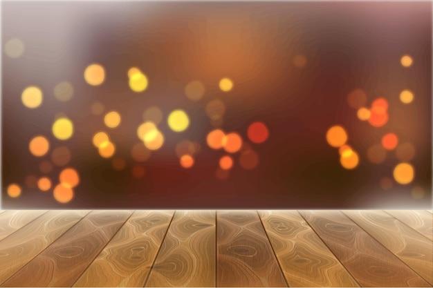 Houten geweven bureau op vage feestelijke bokehlichten