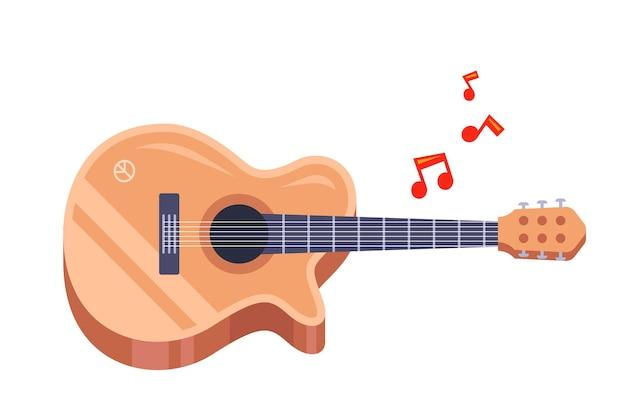Houten gitaar op een witte achtergrond. het bestuderen van een muziekinstrument. platte vectorillustratie.