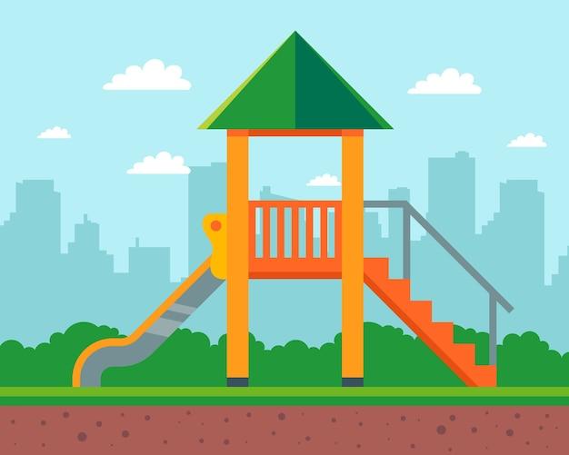 Houten glijbaan voor kinderen in de tuin van het huis. speeltuin in de kleuterschool. illustratie.