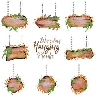 Houten hangende planten