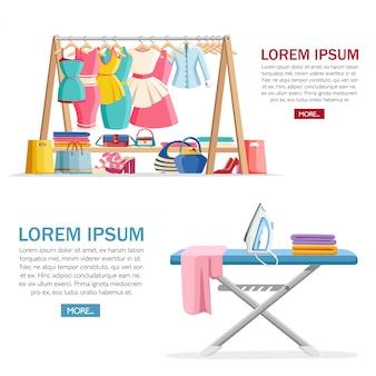 Houten hangerrek met vrouwelijke kleding en handtassen met schoenen op vloer. strijkijzer en strijkplank. vlakke afbeelding met plaats voor tekst. conceptontwerp voor website of reclame.
