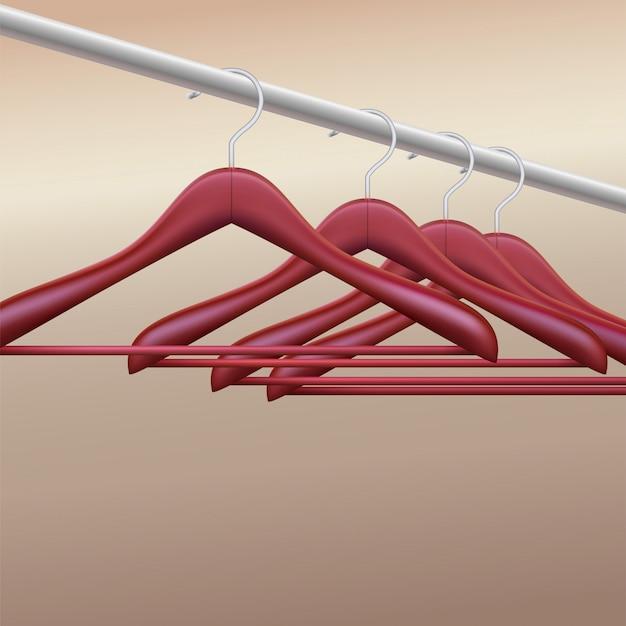 Houten hangers op beursstand