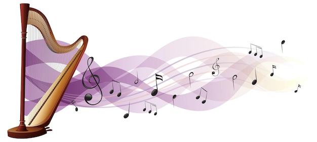 Houten harp met muzieknoten op achtergrond