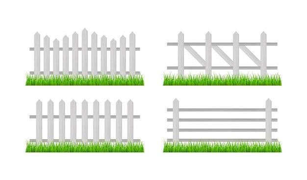Houten hek en gras. vector stock illustratie