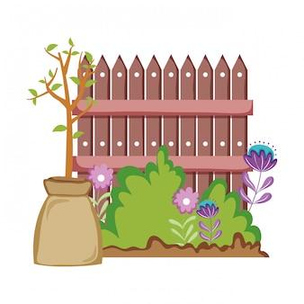 Houten hek met tuin bloemen scène