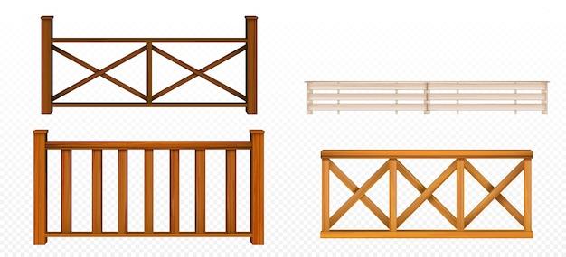Houten hekken, leuning, balustrade secties met ruit en roosters patronen balkonpanelen, trap of terras hekwerk architectuur geïsoleerde ontwerpelementen, 3d-realistische vector illustratie set