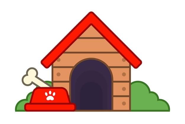 Houten hondenhok in het dorp. platte vectorillustratie.