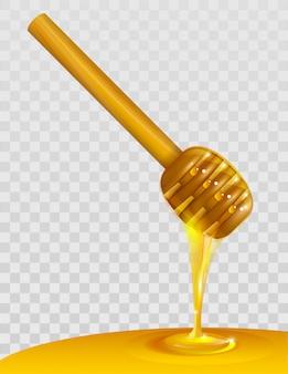 Houten honingsdipper en honing op transparante achtergrond