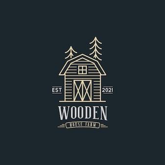 Houten huis boerderij logo ontwerp concept illustraties met rustieke schuur