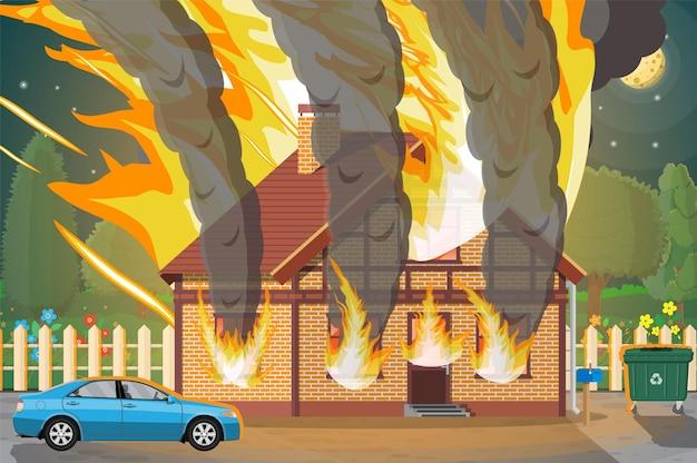 Houten huis brandt illustratie