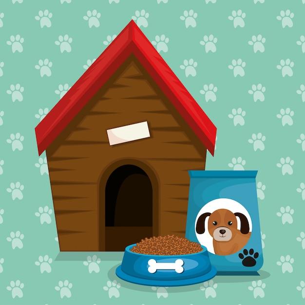 Houten huis en voedsel mascotte