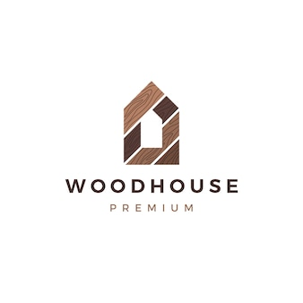 Houten huis houten paneel muur gevel terrasplanken wpc vinyl hpl logo pictogram illustratie