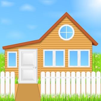 Houten huis, illustratie