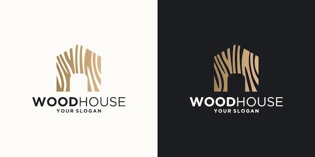 Houten huis illustration.home logo ontwerp
