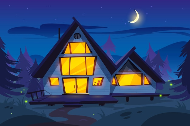 Houten huis in bos 's nachts boswachter huisje