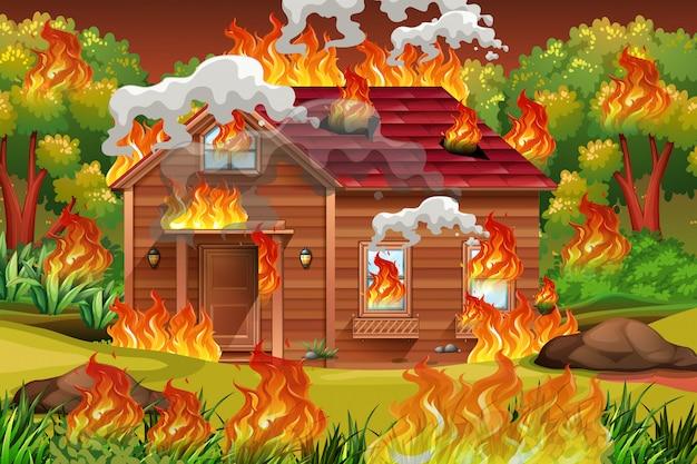 Houten huis in brand
