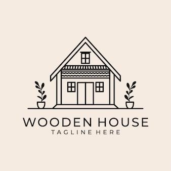 Houten huis lijn kunst logo