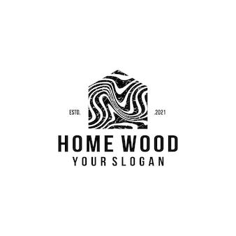 Houten huis logo ontwerpsjabloon