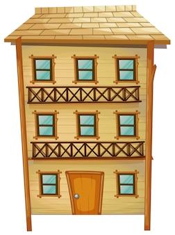Houten huis met drie verdiepingen