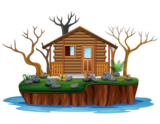 Houten huis met droge boom op eiland