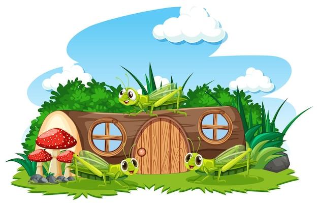 Houten huis met grasshoper cartoon stijl op witte achtergrond