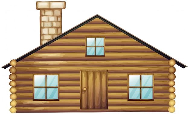 Houten huis met schoorsteen