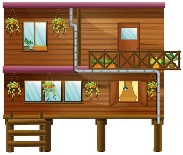 Houten huis met twee verdiepingen