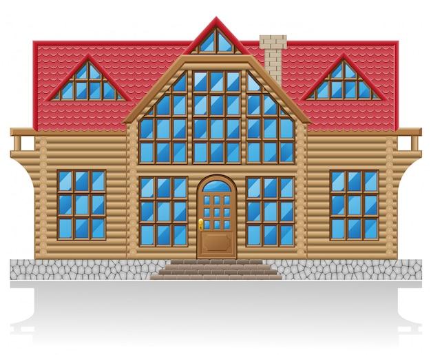 Houten huis vectorillustratie