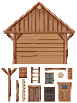 Houten huisje en set van ramen en deuren