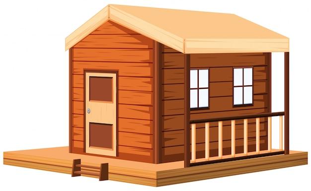 Houten huisje in 3d