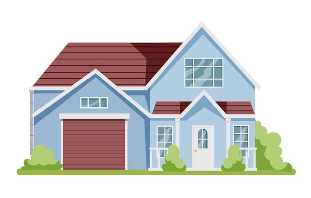 Houten huisje, moderne architectuur. idee van onroerend goed